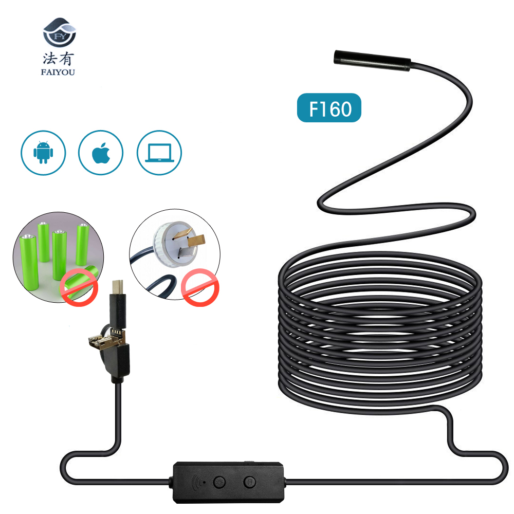 New Arrival USB WIFI Endoscope 8.00mm Cameras IP67 Waterproof LED Light Adjustable 720P Photo Video 70 Degree Angle new arrival viltrox ll 126vt led adjustable brightness flashing led 4 5w for digital video camcorders cameras