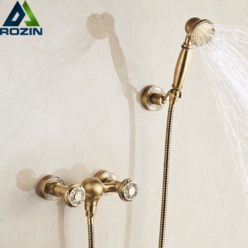 European Style Wall Mounted Shower Mixers Dual Handle Hot and Cold Water Handheld Artistic Shower Faucet  Kit sognare new wall mounted bathroom bath shower faucet with handheld shower head chrome finish shower faucet set mixer tap d5205