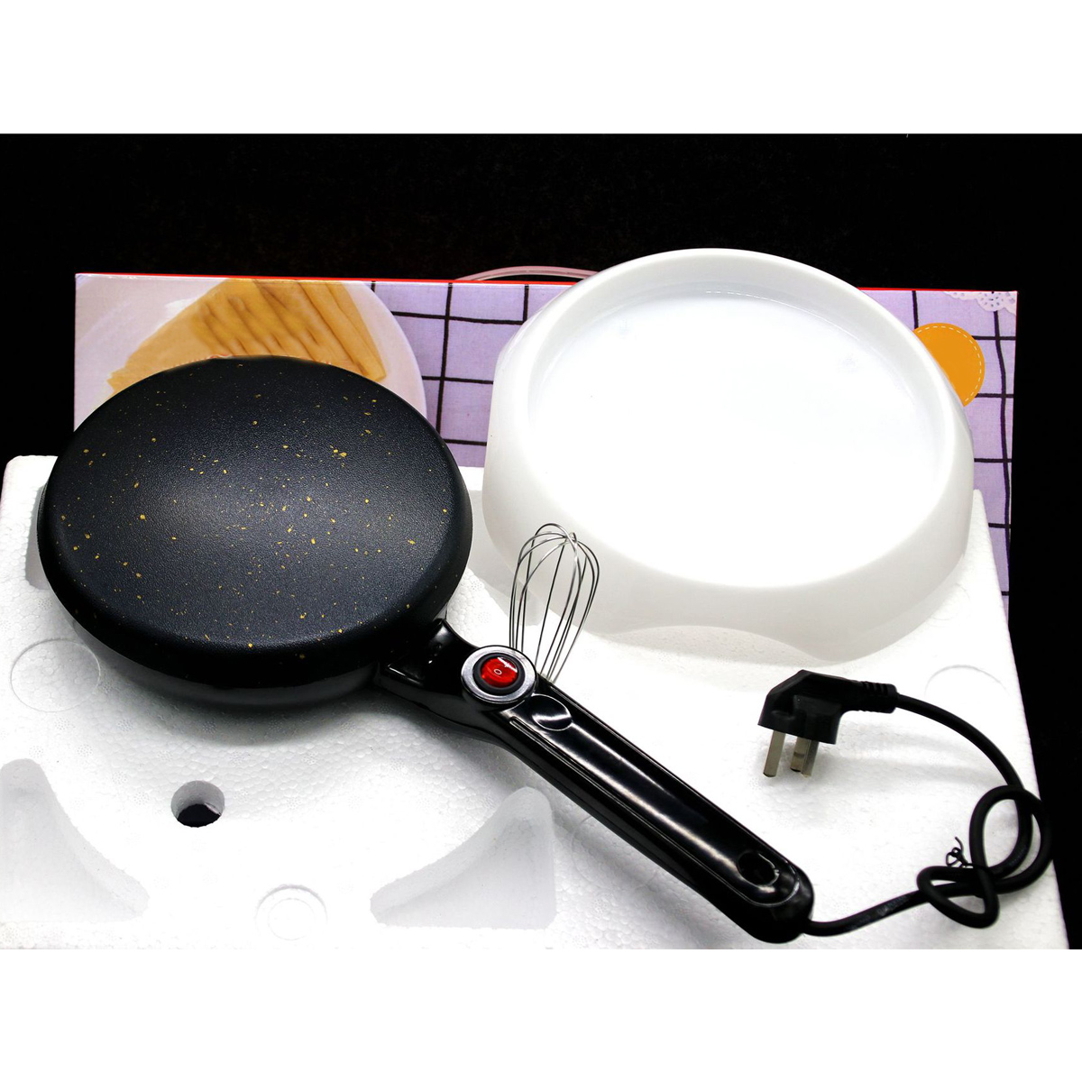 600W Kitchen Electric Griddle Pancake Baking Crepe Maker Pan Pizza Cake Non-Stick Machine Home DIY Cooking Tools With EggBeater
