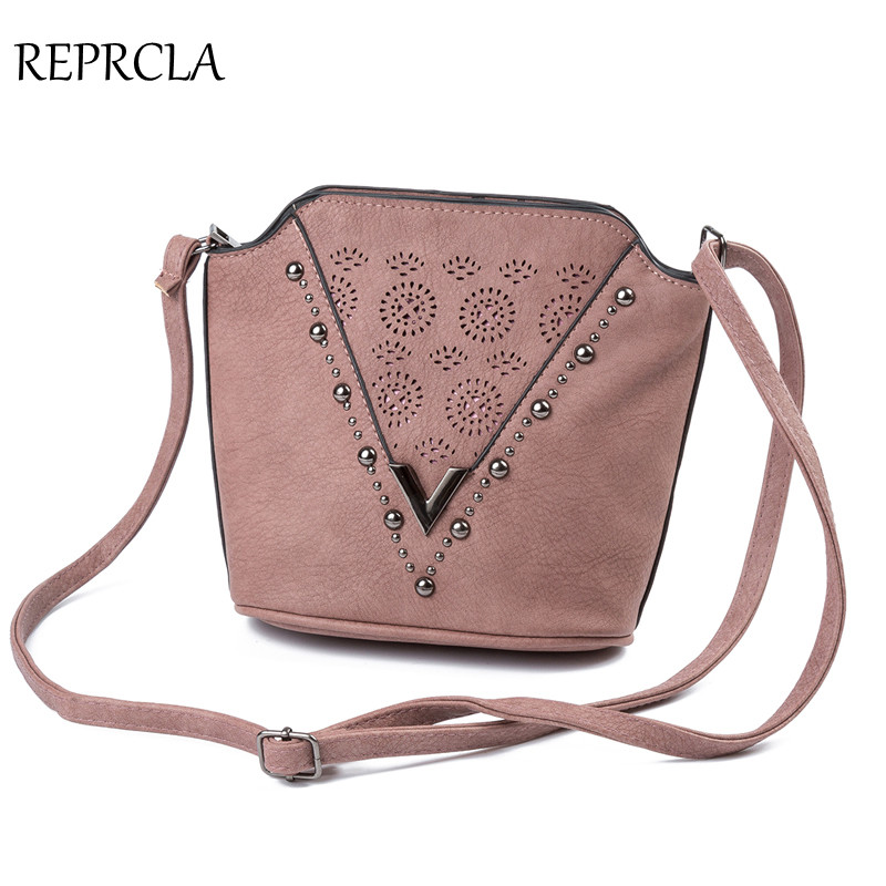 REPRCLA Brand Hollow Flower Small Shoulder Bag PU Leather Women Messenger Bags Vintage Rivet Crossbody Bags for Women Bag fashionable big lip shaped pu rivet shoulder bag messenger bag for women black golden