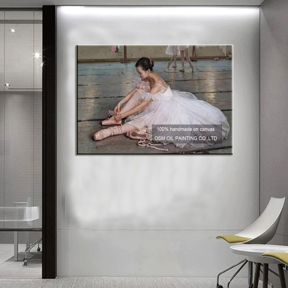 Handmade High Quality Dancer to Adjust the Shoes Oil Painting Wall Decor Imitation Ballet Paintings Edgar Degas Works Painting in Painting Calligraphy from Home Garden