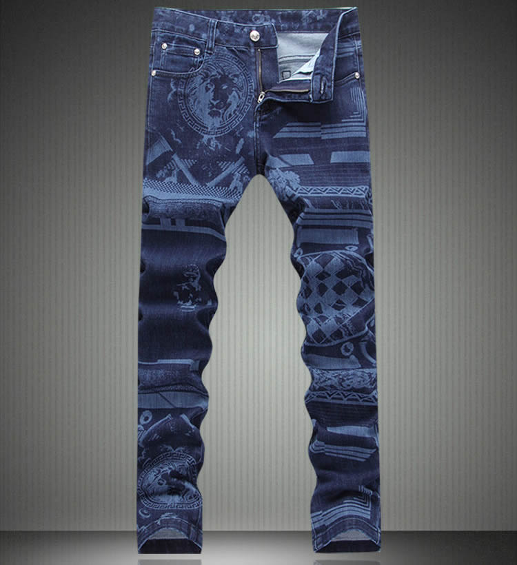 ФОТО   Fashion New  Designer Women Blue Print Trousers Vintage Slim Denim Jeans