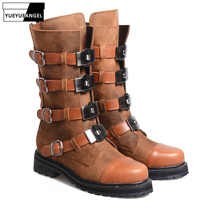 Womens Moto Boots With Buckles