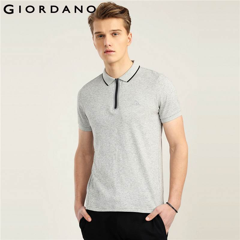 Giordano Men Fast Dry Polo Pique Men Polo Shirt Zip Placket Tops For Men Summer Short Sleeve Camisa Polo Masculina