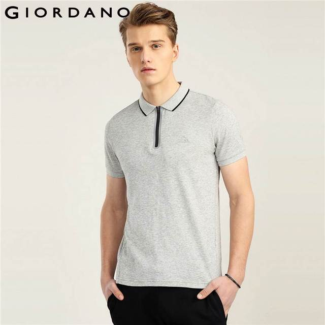 066cdfb7d9ab Giordano Men Fast Dry Polo Pique Men Polo Shirt Zip Placket Tops For Men  Summer Short