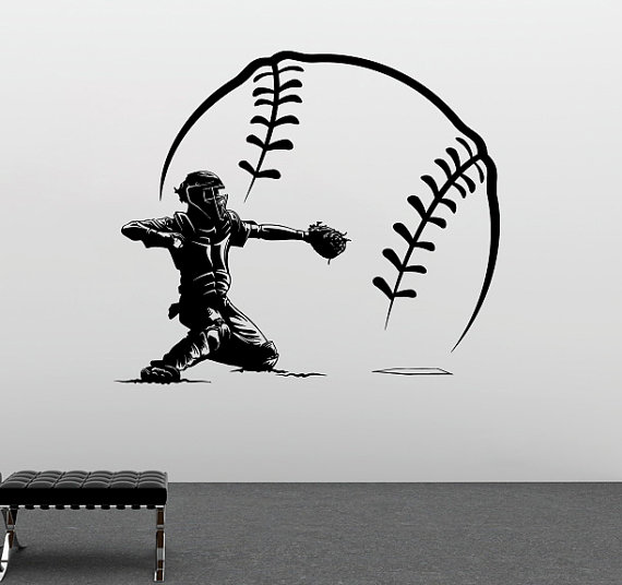 Free Shipping Baseball Player Shorting With BIg Baseball Vinyl Wall - Home Decor