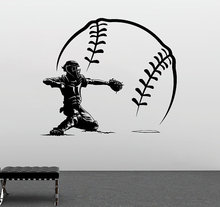 Free Shipping Baseball Player Shorting With BIg Vinyl Wall lSticker Home Bedroom Art Design Sport Series WallpaperY-959