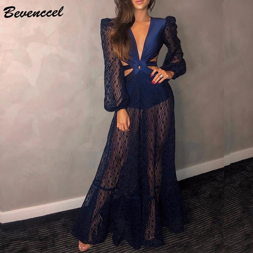 Bevenccel Long Sleeve Women Dress 2019 New Sexy Deep V Backless Lace Up Elegant Maxi Dress
