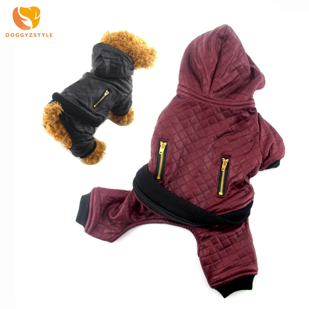 Dog Jumpsuit Winter Leather Pet Clothes Warm Padded Pets Hoodies Coat Puppy Cat Costumes For Small Dogs S-XL DOGGYZSTYLE