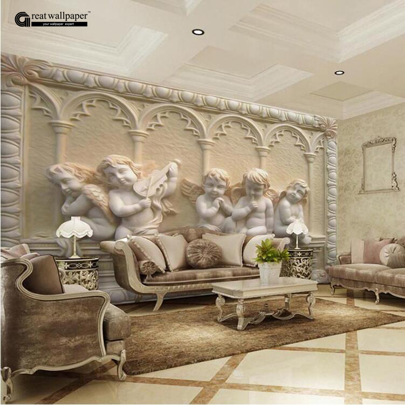 Custom any size 3d wall mural wallpaper angel carving for Wallpaper home murals