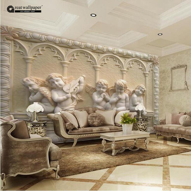 Custom Any Size 3D Wall Mural Wallpaper, Angel Carving Relief 3D  Stereoscopic TV Bedroom Seamless Part 35