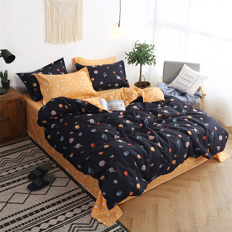 Image 2 - Four Piece Quilt Cover, Pillowcase Planet Full Size moon mattresses queen King size bed sheet  Sweet dream  modern concepts-in Bedding Sets from Home & Garden