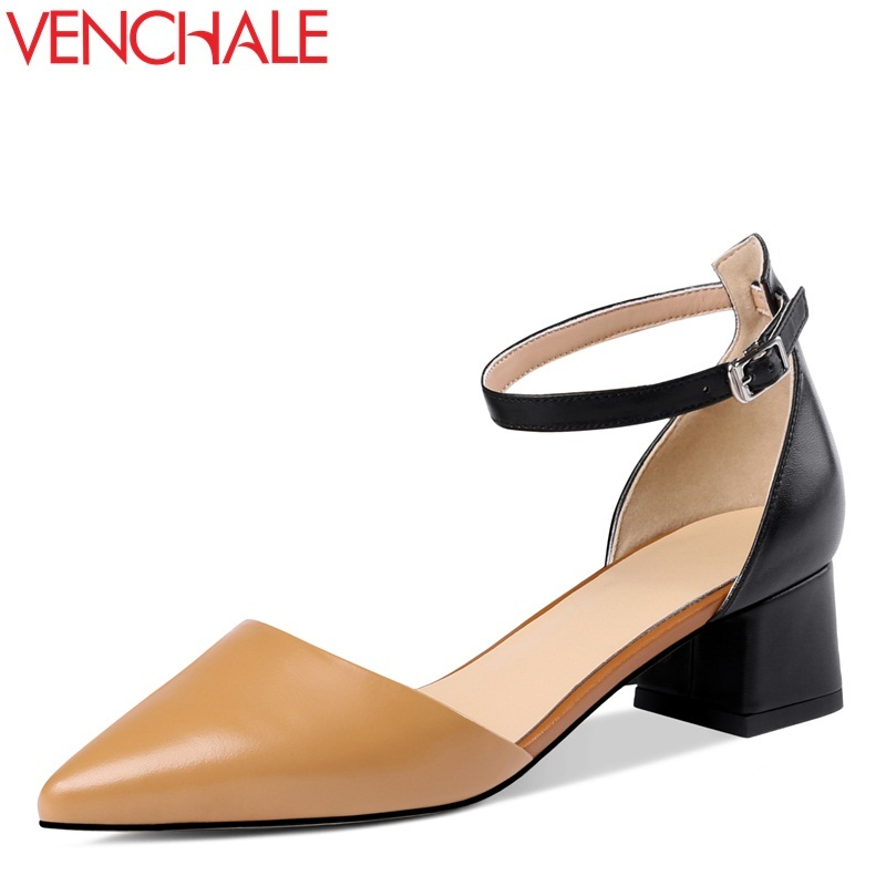 VENCHALE 2018 new med square heel cow leather pointed toe colorblock fashion leisure ankle buckle strap women pumps venchale 2018 new med square heel cow