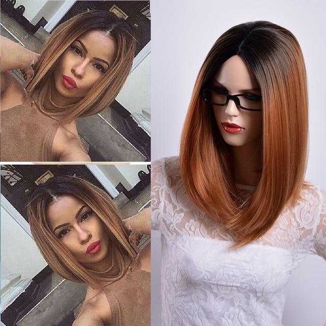 Ombre Braune Perücken Für Frauen Kurze Glatte Haare Synthetische