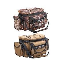 Bolso multifuncional para pesca, bandolera de hombro de gran capacidad, bolsa de bolsillo para equipo de pesca, resistente al agua y portátil