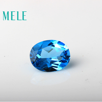 MELE Natural Blue topaz stone for jewelry making,8mmX10mm high quality oval cut loose stone,Designer DIY stone