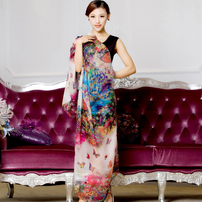 winter 100% real silk   scarf     wrap   shawl for women female all-match long design digital printed   scarves   summer