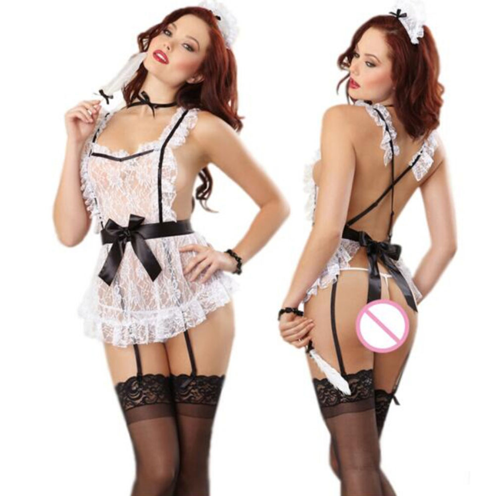 <font><b>2018</b></font> <font><b>Sexy</b></font> Women Halloween Costumes Dress Maid Lace Lingerie Set French Maid Costumes Princess Women Clothing Cosplay Dress image