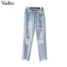 Vadim femmes vintage fringe gland trous denim jeans poches cheville  longueur pantalon style Européen dames occasionnels 8fc9a38d0b97