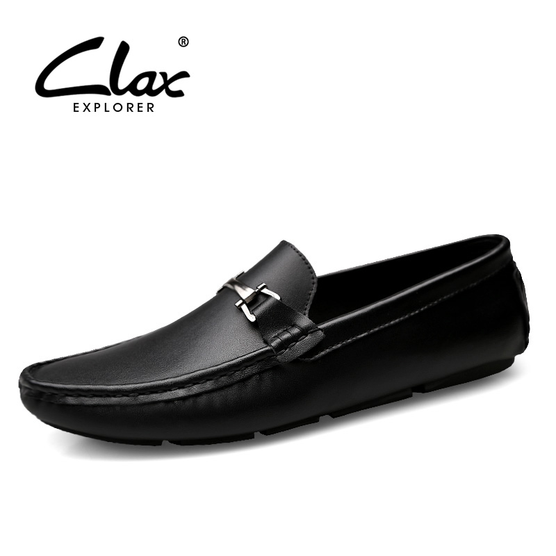 CLAX Men Leather Loafers 2018 Spring Summer Genuine Leather Casual Shoes Slip on Male Moccasins Breathable Fashion Leisure Shoe dxkzmcm new men flats cow genuine leather slip on casual shoes men loafers moccasins sapatos men oxfords