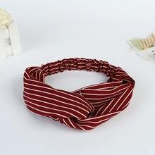 Женская эластичная повязка на голову полосатый тюрбан спортивная