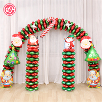 1 Set Christmas Decoration Aluminium Foil Balloon Green Red Merry Christmas Tree Santa Cafe Bar Home