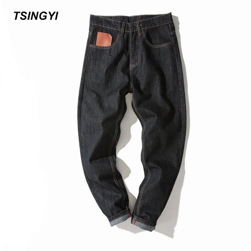 Tsingyi Automne 4XL Moustache Effet Preppy Style Jeans Hommes Noir Gris Denim Homme Long Longueur Casual Lâche Jogger Hommes Pantalon