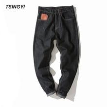 Tsingyi Autumn 4XL Moustache Effect Preppy Style Jeans Men Black Grey Denim Homme Long Length Casual Loose Jogger Mens Trousers