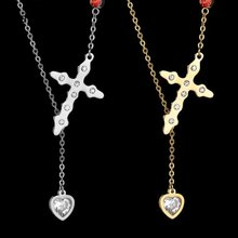 Eleple New Zircon Inlaid Cross Love Pendant Necklaces Female Fashion Celebration Stainless Steel Jewelry Gifts Wholesale S-N20-S