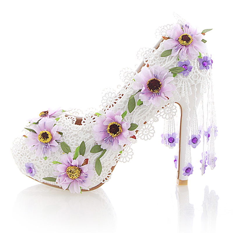 White Lace Flower High Heel Wedding Shoes Fashion Beautiful Women Party Prom Shoes Peep Toe Summer