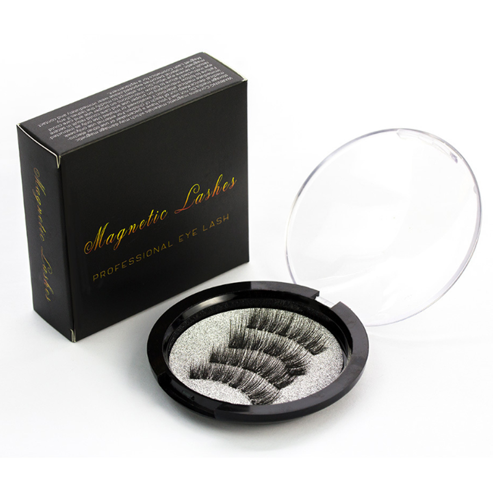 1 Box No Need Glue Magnetic False <font><b>Eyelash</b></font> for Eye Makeup Extending 4 Magnets Round Box <font><b>Eyelash</b></font> image