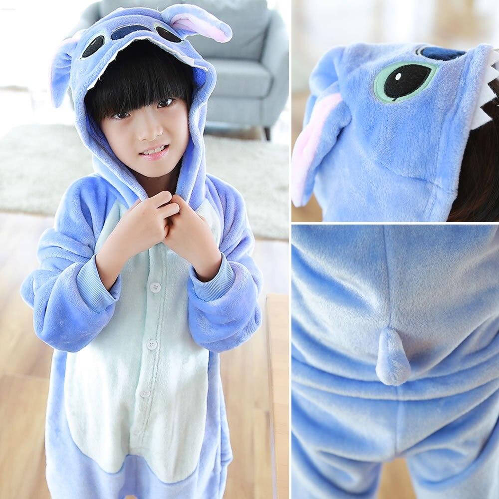 Children Winter Homewear Kigurumi For Kids Cute Animal kigurumi Stitch Pajamas Lilo Long Sleeve Hooded Onesie Pyjamas Sleepwear