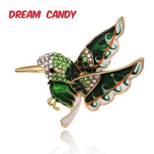 Dream Candy Fashion Rhinestone Bird Brooches for Women 2 Colors Animal Brooch Enamel Pins Suit Accessories Gifts for Men Jewelry enamel bird shape with rhinestone on branches brooches