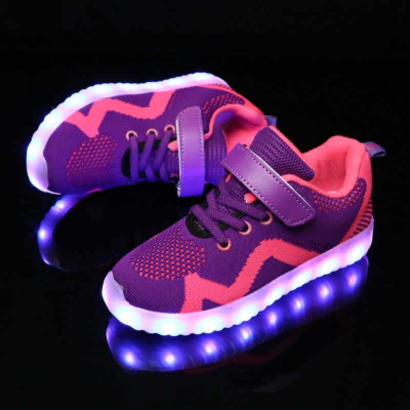 pit4tk Kids Boys Girls 7 Colors USB Charging LED Light up Shoes Luminous Glowing Flashing Sneakers