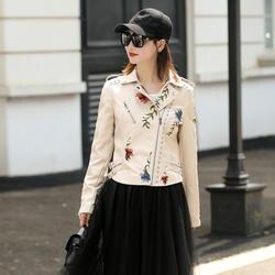 LY VAREY LIN Женская куртка из искусственной кожи с вышивкой мотоциклетная Черная куртка панка пальто с заклепками на молнии Женская куртка из