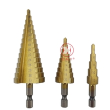 OMY Professional HSS Steel Large Step Cone Hex Shank Coated Metal Drill Bit Cut Tool Set Hole Cutter 4-12/20/32mm Wholesale professional practical unique titanium coated 3 13mm 11 step drill bit 1 4 hexagonal hss carbon steel hex shank tool for wood
