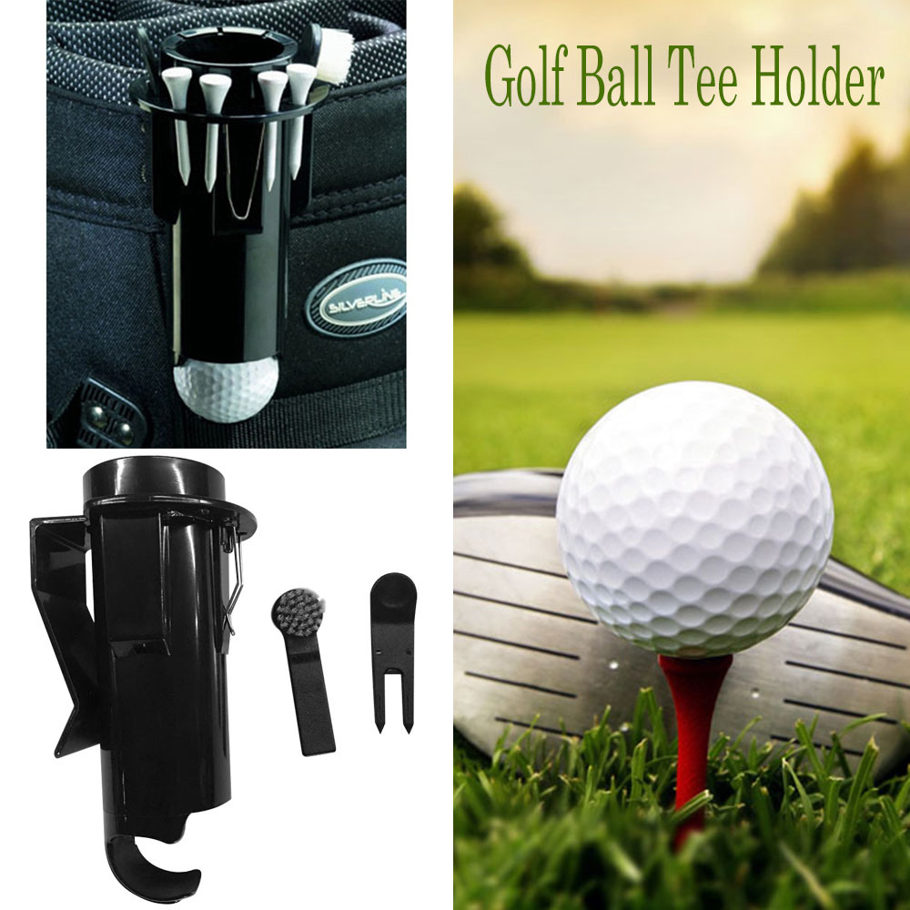 New Portable storage Golf Ball Tee Holder Pro Clip Caddy With Nylon Brush Divot cleaning Tool with brush drop ship 1