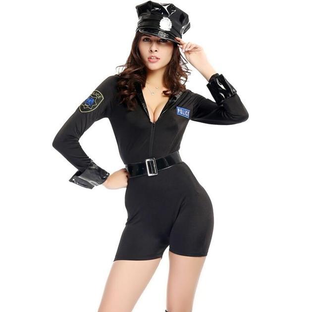 959bd3a05 Adulto Policial Macacão Preto Sexy Polícia Traje de Halloween para as  mulheres Fantasia Cosplay Jogos Uniforme