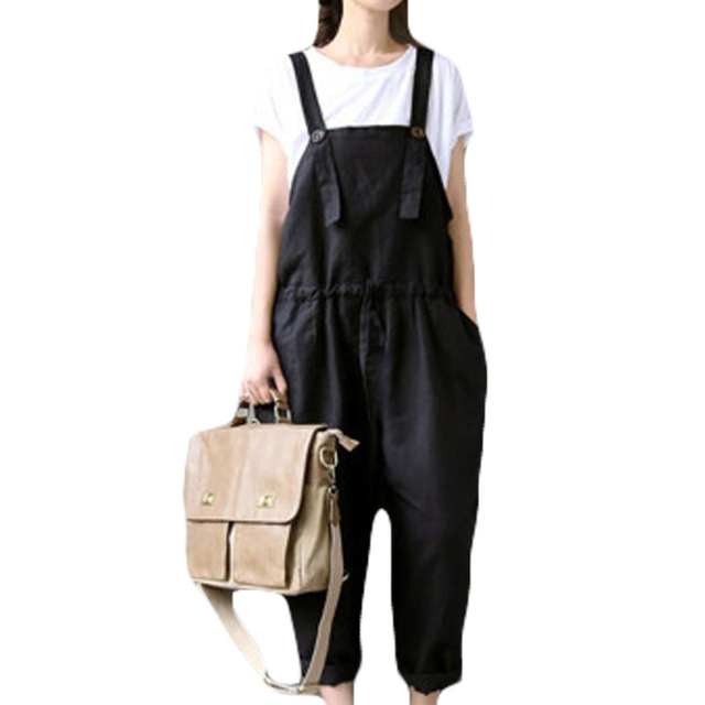 08d91f1a1d199 Women Cotton Linen Black Jumpsuits Loose Casual Wide Leg Harem Rompers Plus  Size 3XL Ladies Bib