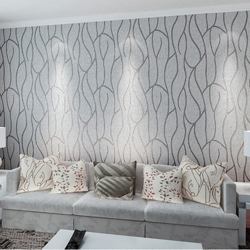 Papel De Parede Thick Non Woven Wall Paper Flocking Modern Minimalist Bedroom Living Room TV