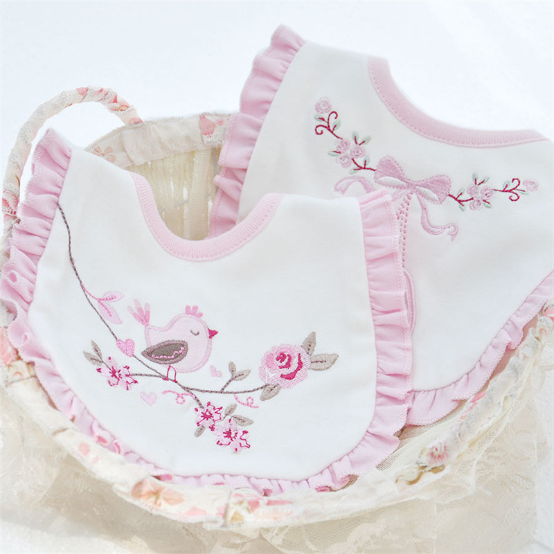 Cotton Double Layers Baby Bibs Cute Lace Saliva Towel Infant Burp Cloths Toddler