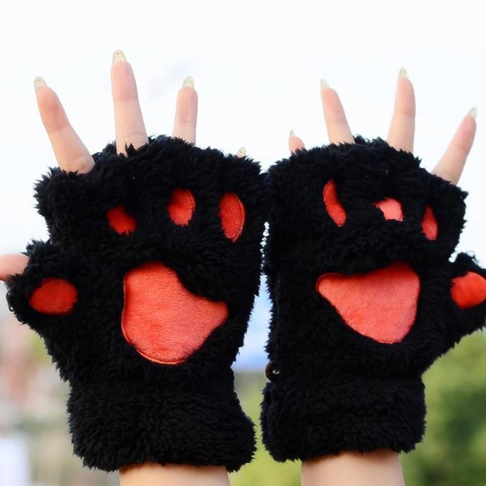 Loyaal Vrouwen Winter Vingerloze Handschoenen Pluizige Beer Kat Pluche Poot Klauw Half Vinger Handschoen Zachte Half Bedekt Vrouwen Vrouwelijke Handschoenen Wanten
