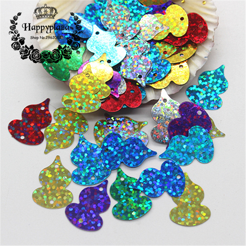 30g/pack Mix Colors 14*20mm Shiny Gourd PVC Laser Loose Sequins Paillettes for DIY Scrapbooking Card Making