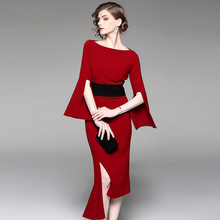 Multiflora Autumn New Elegant Red Flare Sleeve Asymmetric Hem Sheath  Mermaid Dress недорого