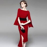 Multiflora Autumn New Elegant Red Flare Sleeve Asymmetric Hem Sheath Mermaid Dress