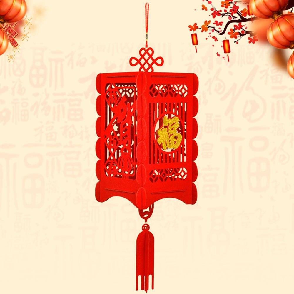 Китайский красный фонарь китайский фонарь 3D фонарь предмет интерьера, украшение для праздника, традиционный - Цвет: 2