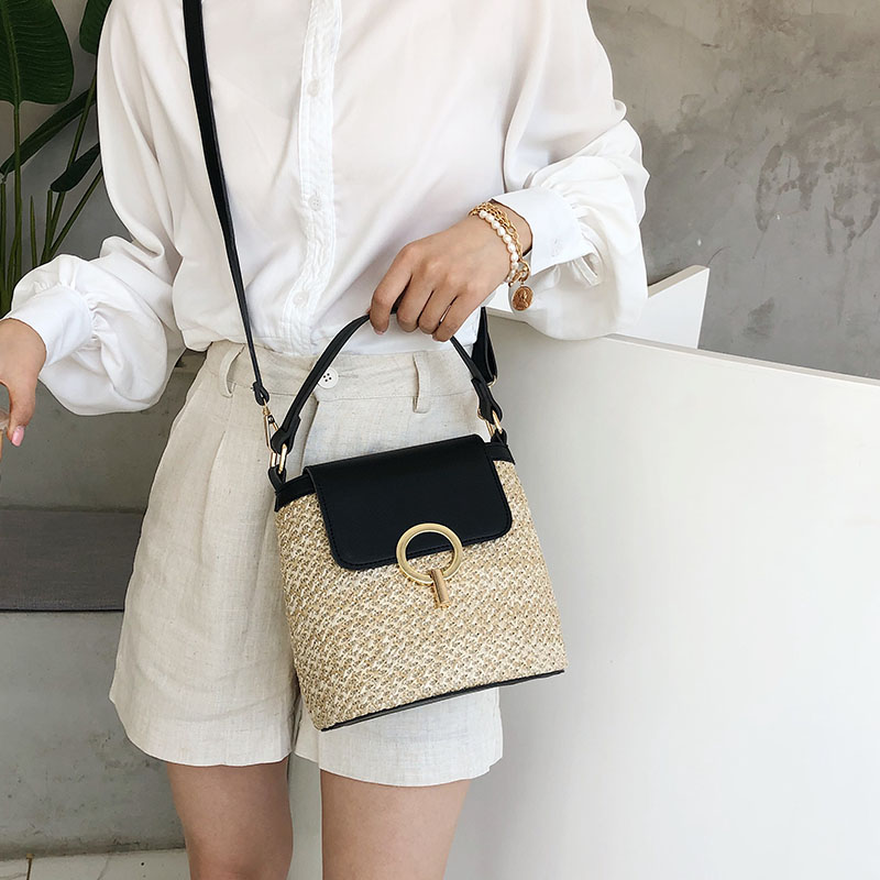 HTB1.48nS7voK1RjSZFwq6AiCFXaO - Small Straw Bucket Bags For Women Summer Crossbody Bags Lady Travel Purses and Handbags Female Shoulder Messenger Bag