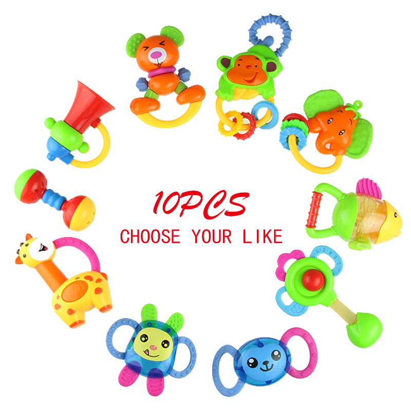 Baby Plastic Hand Shaking Bell Ring Rattle Toddler Kids Handbell Music Toy Gift For Newborn Children 0-12 Months Teether Toys