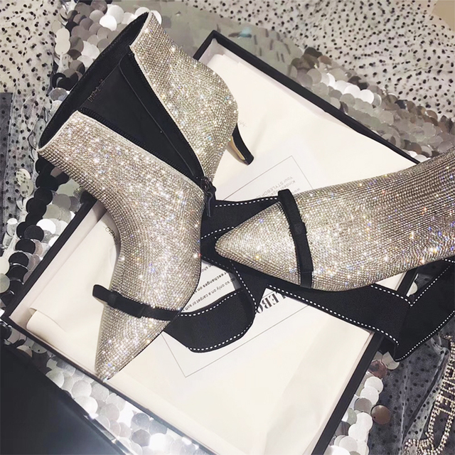 0d42b4b7115 2019 Hot Selling Silver Beading Bling-bling Ankle Boots Chic Pointed Toe  Bowtie Pumps Celebrity Shoes Women
