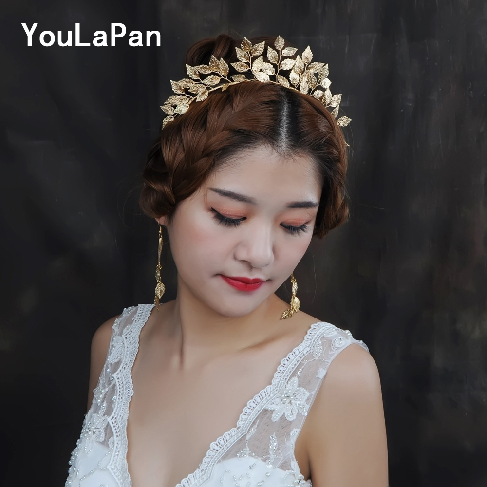 YouLaPan HP174 Vintage Handmade Gold Leaf Hairband For Women Tiara Wedding Headdress Hair Accessories Bridal Forehead Hair Jewel